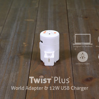 TWIST Plus+ World Adapter & 12W USB Charger