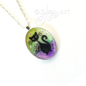 Cat and Butterfly, art pendant with necklace, original mixed media art pendant, mini art, NOT A PRINT