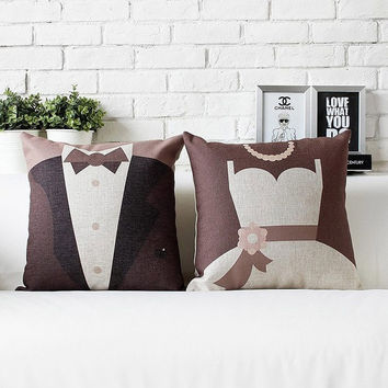 "Cotton/Linen Cushion Cover Shell Throw Pillow Scatter Cushion Case abstract Pop cartoon Wedding gift bride bridegroom Love 2 pc a set 18"" x 18"" = 1930046340"