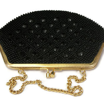 Vintage Black Beaded Evening Purse Clutch - Gold Chain Link Safety Strap Satin Lining Hand Made in Hong Kong - Handbag Florette Flower Beads