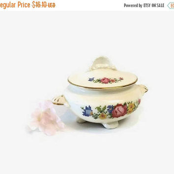 ON SALE - Vintage Covered Sugar Bowl, Cunningham & Pickett Heirloom, HLC Nautilus China, Petit Point Flowers