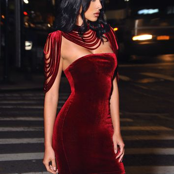 Removable Collar Stretch Velvet Strapless BodyCon Dress