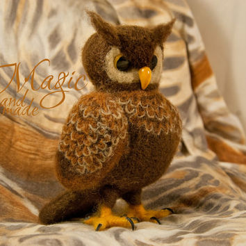 Felted owl, felt bird, wool creature, unique toy, brown