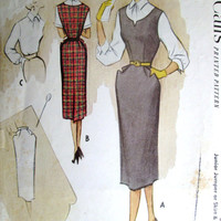Pencil Dress Sleeveless Sheath wiggle dress sundress jumper straight skirt fitted blouse sewing pattern vintage 50s 40s style McCall's 8589