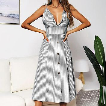 Fashionable Sexy Stripe Lotus Leaf Lace Button Dresses for Women Grey