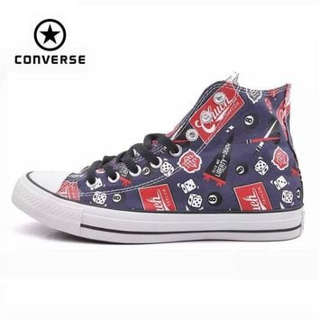 Original Converse all star shoes men sneakers Hand-painted graffiti canvas shoes men h