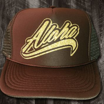 """50th State """"Aloha Flow"""" Brown and Glitter Trucker Hat"""