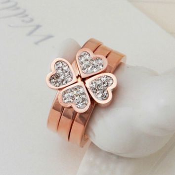 New fashion Clover ring rose gold diamond jewelry