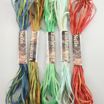 2mm Silk Ribbon Embroidery Thread 5 meter lengths 5 Varigated hand dyed colour way Green red blue olive forest brown