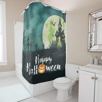 Spooky Haunted House Costume Night Sky Halloween Shower Curtain