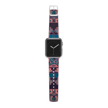 Kess InHouse Nika Martinez 38 mm Strap for Apple Watch - Non-Retail Packaging - Golden Art Deco Blue and Coral