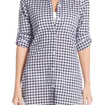 Tommy Bahama Gingham Boyfriend Shirt Cover-Up | Nordstrom