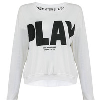 """White Sweatshirt with """"Play"""" Letter Print"""