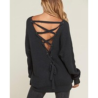 long sleeve lace up back slouchy sweater - charcoal