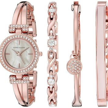Anne Klein Women's Swarovski Bangle Watch and Bracelet Set