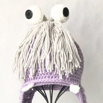Crochet Boo photo prop earflap Hat - Boo Beanie - Monsters Inc Boo Crochet hat - Boo Halloween Costume Hat - Monsters Inc Boo Beanie - Boo