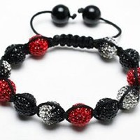 Red Devil Shamballa Bracelet | Red Shamballa Bangle | Red and Black shamballa crystal pave argil beads (by BAGATI CRYSTO): Jewelry: Amazon.com