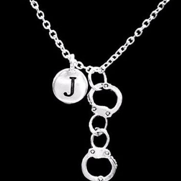 Choose Initial Letter Hancuff Gift Best Friend Sister Partners In Crime Necklace