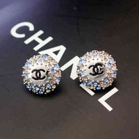 Chanel Women Fashion CC Logo Diamonds Stud Earring Jewelry