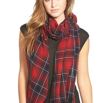 Women's The Kooples Check Wool & Cashmere Scarf - Red