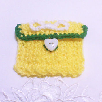 Yellow knit coin pouch Change purse Small knit purse keys purse Knit treasure bag small organizer tote accessory gift bag money purse wallet