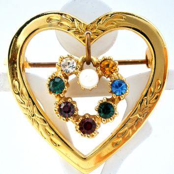 Heart Shaped Brooch With Rhinestones