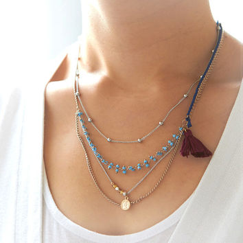 Tassel and Beads layered Necklace / choose your color