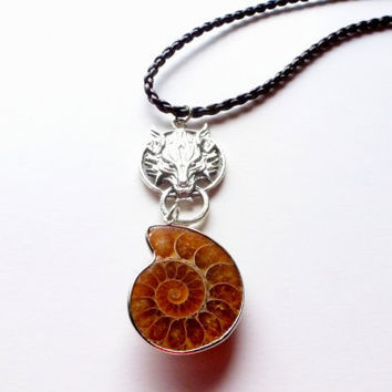 Wolf Head  Ammonite Necklace  Natural Nautilus  Art Pendant  For Men  Gothic Fantasy  Fossil Jewelry