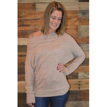 Off Shoulder Thermal Knit Sweater