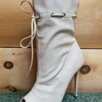 "Alectrona Open Toe Perforated Drawstring Ankle Boots Nude  - 4.75"" Heels Size 11"
