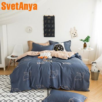 Svetanya Duvet Cover+Pillowcases Cotton Bedding Sets Single Double Queen King Size