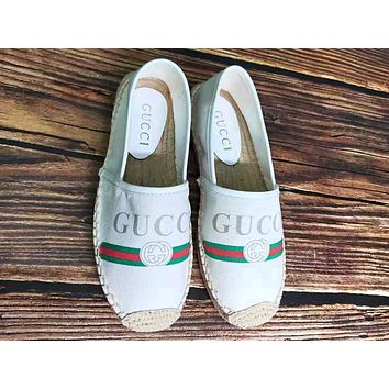 GUCCI tide brand women's double G red and green striped print straw fisherman shoes