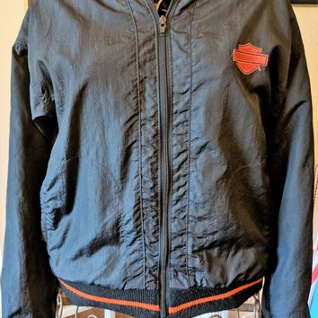 Vintage Harley Davidson Black Mens Windbreaker Jacket Made in USA Size S