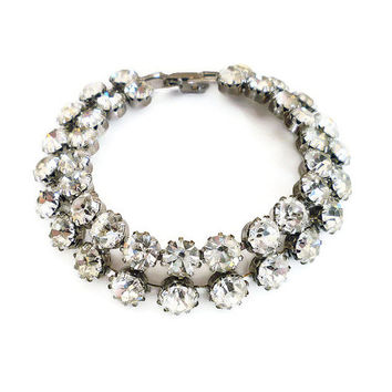 Weiss Bracelet, Diamante Rhinestone, Clear Sparkly, Prong Set, Bridal Wedding, Vintage Jewelry