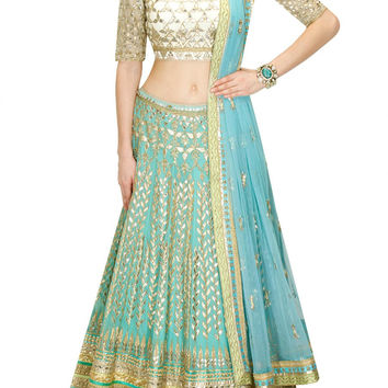Aqua color Bridal Lehenga with white Choli