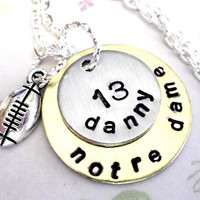 College Football Necklace Personalized Football by CharmAccents