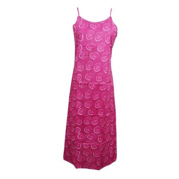 Mogul Women's Pink Cotton Printed Dress Summer Boho Style Sleeveless Spaghetti Straps Beach Dresses - Walmart.com