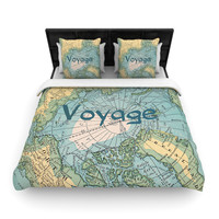 "Catherine Holcombe ""Voyage"" Teal Map Woven Duvet Cover"