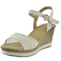 Womens Platform Sandals Front Lace Accent Low Wedge Dress Shoes Beige SZ