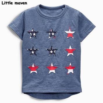 Little maven baby boy clothes 2017 summer boy short sleeve cotton tee tops cloth star t shirt 50684