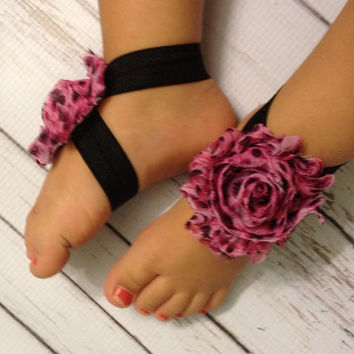 Baby Barefoot Sandals...Pink and Black Leopard Print Barefoot Sandals