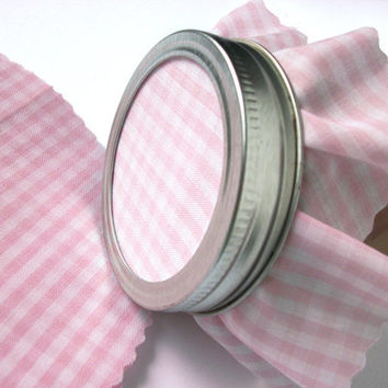 12 Pastel Pink Gingham Jam Covers, Cloth Toppers, fabric for mason jars, food preservation, baby girl shower