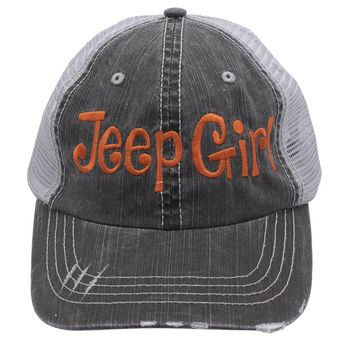 Jeep Girl Embroidered Distressed Trucker Style Cap Hat Rocks any Outfit Orange