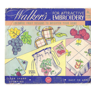 1940's Walker's Embroidery Transfer, Kitchen Fruit Design, No. 720, Linens, Gay Fruits, Cloth Napkins, Aprons, Pot Holders, Towels, Iron On