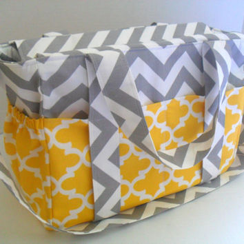 Extra Large Diaper bag Yellow Quatrefoil - Diaper Bag - Tote Bag - Messenger Bag - 12 Pockets - Zipper Closure - Yellow Diaper Bag - Chevron
