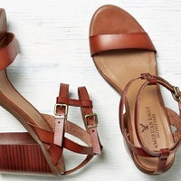 AEO Women's Strappy Stacked Heel Sandal (Cognac)