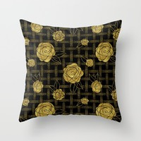 Gold Roses on Dots Basket Weave by WickedRefined - Nicole Demereckis