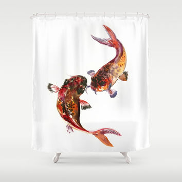 Two Koi, Feng Shui Art Koi Fish Shower Curtain by sureart