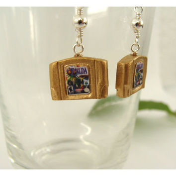 NEW STYLE GOLD Nintendo 64 Cartridge Earrings - choose form either Zelda Game!