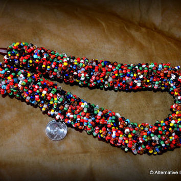 FABULOUS Mint Condition Mauritanian Wedding Necklace Made of Mixed African Trade Seed Beads Age Unknown
